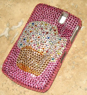 """Elena's Cupcake"" Crystallized in Swarovski phone design"