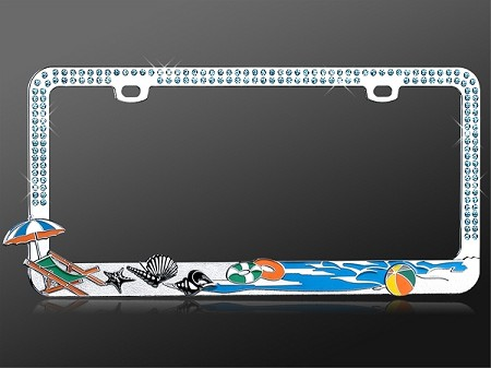 Beach Theme - Rhinestone License Plate Frame with Blue Crystals