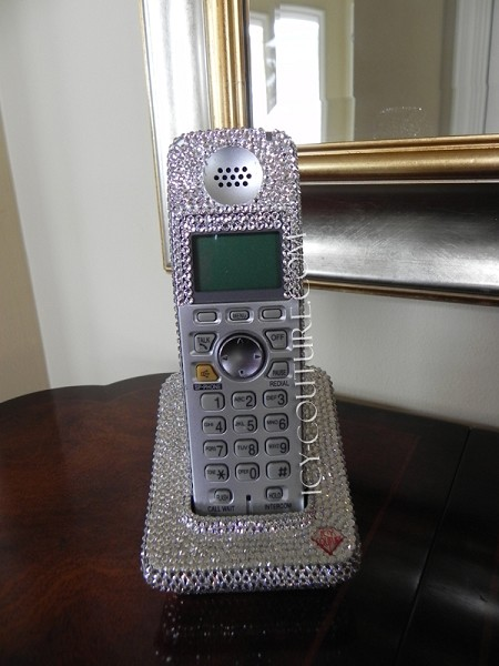 CORDLESS PHONE HANDSET with Swarovski Crystals. Whats Your Color?