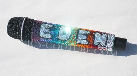 Bling Your Microphone! ICY Couture RAINBOW Swarovski Crystal Mic custom bedazzled