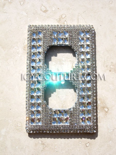 3D Fancy Swarovski Crystal Double Outlet Wall Cover Plate