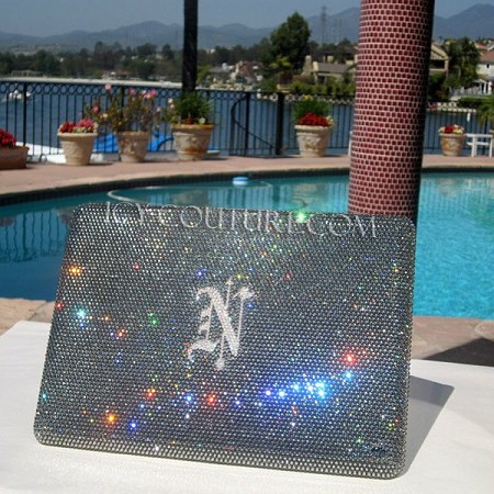 Your Initial ICY COUTURE bedazzled Laptop Crystal Cover Case