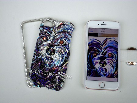 Custom DOG Portrait with Swarovski Crystals. Select Your Phone Model