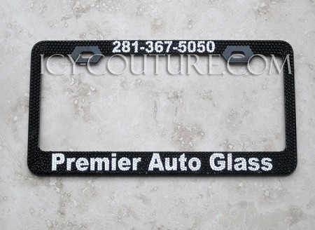 TOP & BOTTOM Custom Message Crystal License Plate Frame