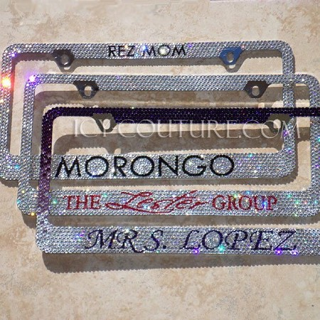 Custom Message Swarovski Crystals License Plate Frame