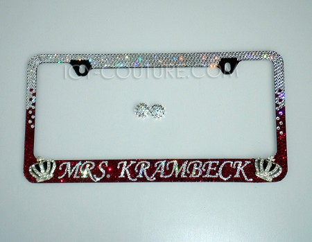 Bow to The Queen Ombre License Plate Frame Swarovski Crystals