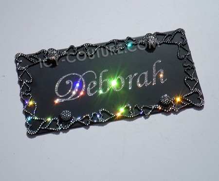 Custom Name License Plate With Swarovski Crystals