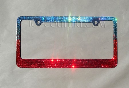 CUSTOM COLORS OMBRE - Swarovski Crystals License Plate Frame