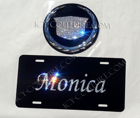 CUSTOM NAME License Plate with Swarovski Crystals - Black or Chrome.