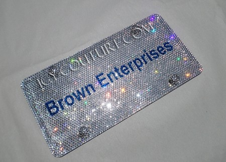 YOUR BIZ NAME or LOGO Custom Front License Plate, fully bedazzled with Swarovski crystals