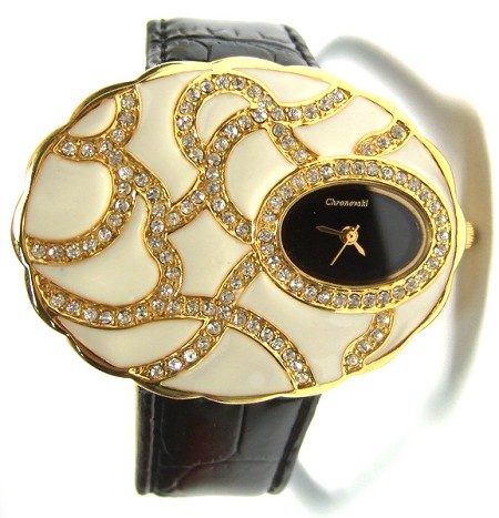 HUGE JEWEL Black strap Crystal Watch