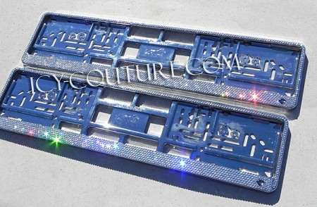 Crystal European License Plate Frame bedazzled with Swarovski crystals