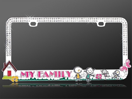 Loving Family - Rhinestone License Plate Frame with Clear crystals