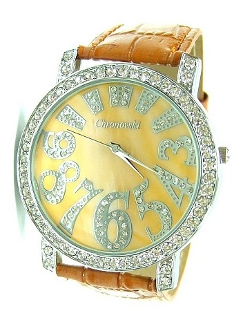 Bling-Bling Fashion Lady Watch -  ICED Funky Numbers - light brown