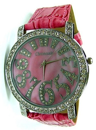 Bling-Bling Fashion Lady Watch -  ICED Funky Numbers - Pink