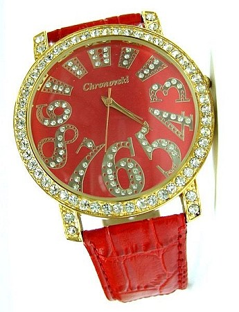 Bling-Bling Fashion Lady Watch -  ICED Funky Numbers - Red