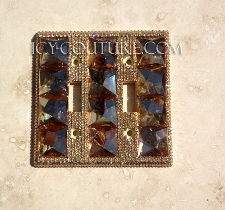 Luxury 3D Golden Shadow Crystal Light Switch Cover Plate. Select Your Type