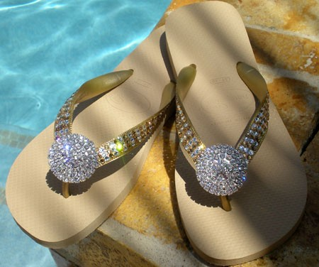 """Golden Glam Pave""  Icy Couture Signature Swarovski Havaianas Flip-flops"