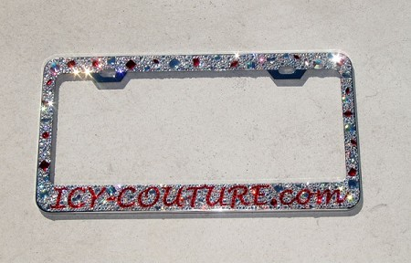 YOUR MESSAGE in Swarovski Crystals on Oh, so glam, OLD HOLLYWOOD-style License Plate Frame
