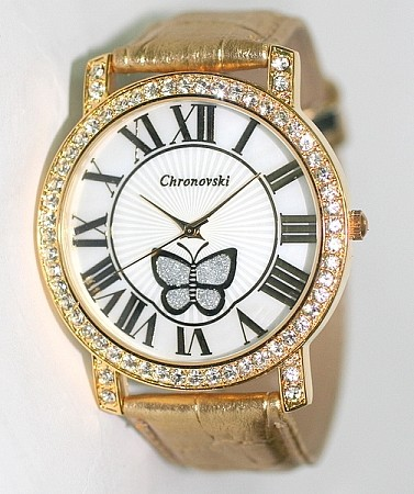 Bling-Bling Fashion Lady Watch - GOLD Leather Stap Butterfly