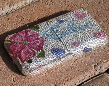 """Eileen Flower"" bedazzled iPhone faceplate"