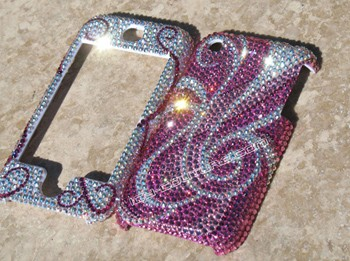 Pink Swirls our most popular Swarovski Crystal design, here on iPhone
