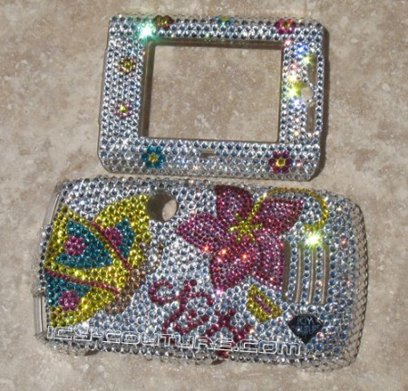 """Kytt Butterfly"" crystallized on Sidekick Slide faceplate"