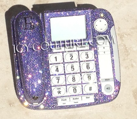 LAVENDER Swarovski Crystal Bling Home Office Desk Phone
