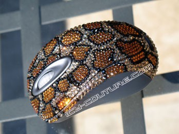 Leopard print Swarovski crystallized computer mouse