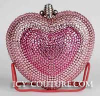 Heart Shape Swarovski  Crystal Evening Clutch