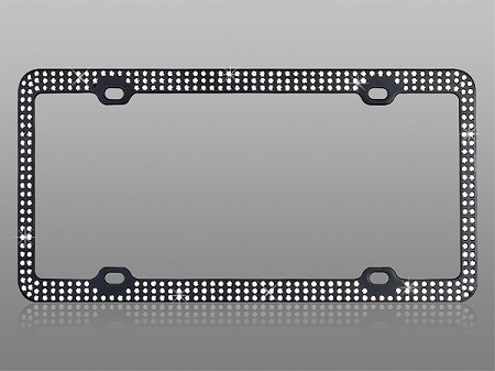 Classy Black BLING License Plate Frame with Clear Rhinestones