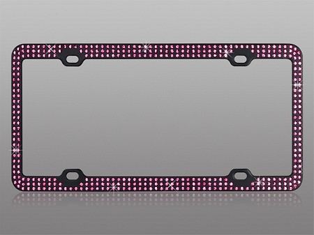 Classy Black BLING License Plate Frame with PINK Rhinestones
