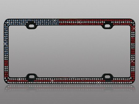 AMERICAN FLAG BLING License Plate Frame Rhinestones