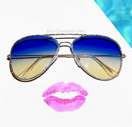 Sexy ICY Couture Aviators with Swarovski Crystals - Blue Ombre