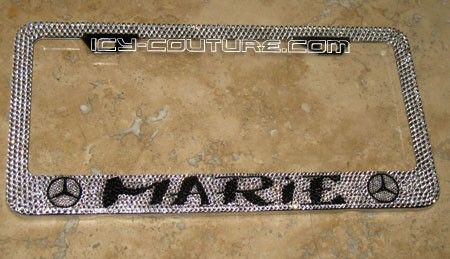 """Your Name & Symbol"" custom Swarovski License Plate Frame"