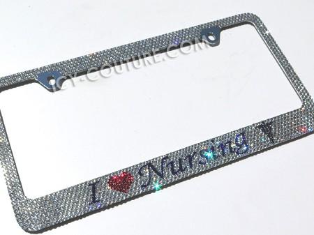 I LOVE NURSING Swarovski Crystals License Plate Frame