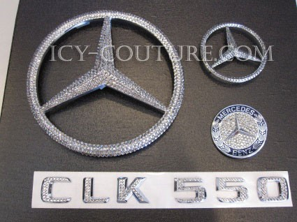 Crystal Mercedes emblems CLK series. Bling Car!