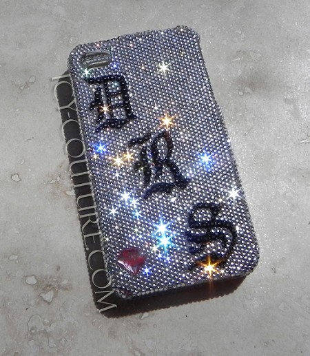 Old English Initials. Swarovski Crystal Phone Cover, here made on Blackberry Bold
