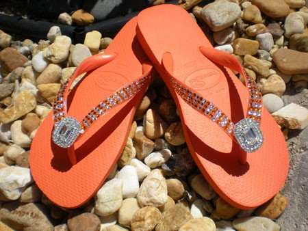 """Orange Diamond""  ICY Signature Swarovski Havaianas Flip-flops"