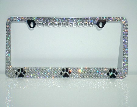 PAW Prints License Plate Frame with  Swarovski Crystals. Whats Your Colors?