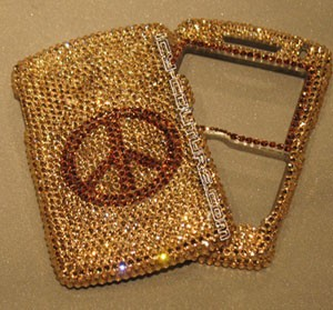 """Golden Peace"" crystallized Blackberry 8800 phone cover"
