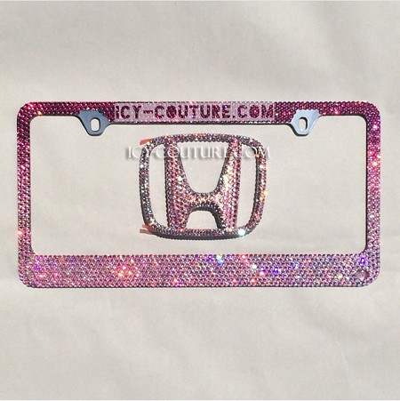LOVE PINK - OMBRE Effect Swarovski Crystals License Plate Frame