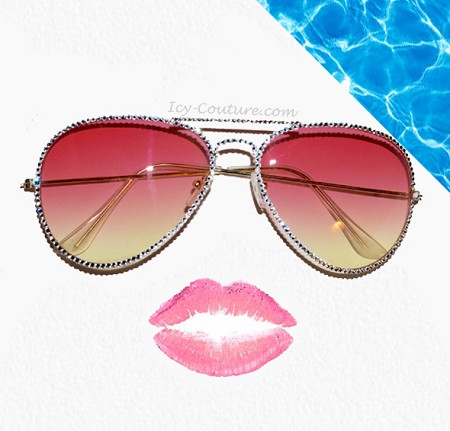 Sexy ICY Couture Aviators with Swarovski Crystals - Coral Pink Ombre