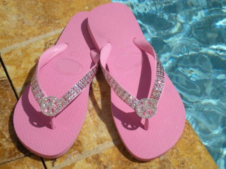 """Peace on Blush Pink"" Swarovski ICY Signature flip-flops"