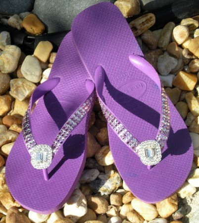 """Purple Diamond""  ICY Signature Swarovski Havaianas Flip-flops"