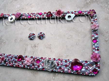 ROYAL PINK 3D Crown, Pearls & Rhinestone Bling License Plate Frame by ICY Couture
