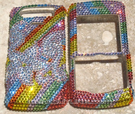 """Rainbow Lily"" Blackberry Pearl 8130 Swarovski faceplate"