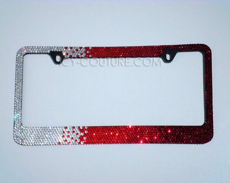 Red Diamonds HORIZONTAL OMBRE - Swarovski Crystal License Plate Frame