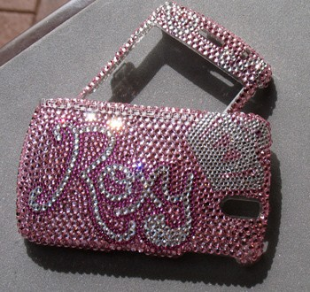 """Roxy"" crystal design on Blackberry Curve 8300 phone cover"