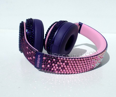 Violet Pop Ombre Beats Design with Swarovski Crystals